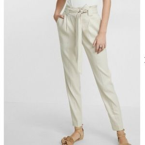 Express High Waisted Sash Tie Ankle Trousers